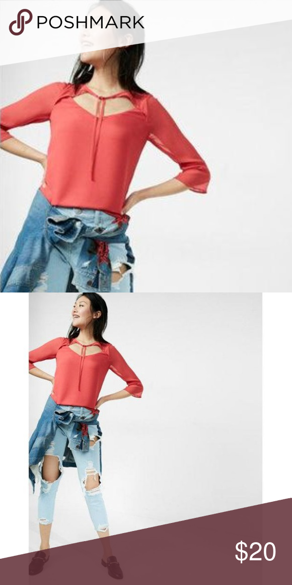 f35404e7 Express solid cut-out tie neck 3/4 sleeve blouse Slip into a fresh look  with this flowy blouse that shows off your feminine allure.