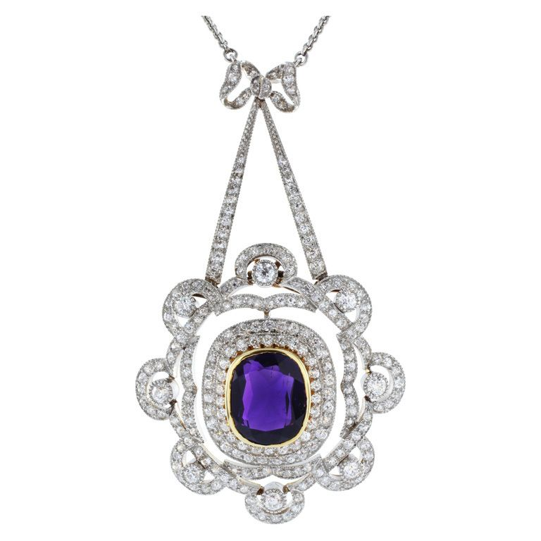 Marcus and Co Amethyst and Diamond Pendant, 1910