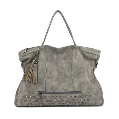 Large Capacity Rivet Handbag with Tassel- 4 Colors  9cdf592c32714