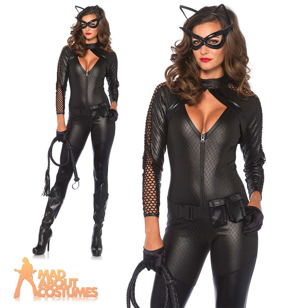 Adult Sexy Cat Woman Wicked Kitty Costume Halloween Fancy Dress ...