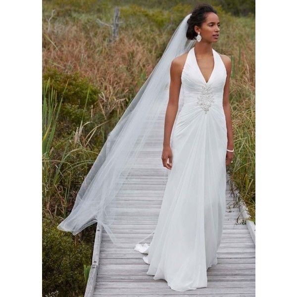 David's Bridal Chiffon Halter Wedding Dress With Beaded