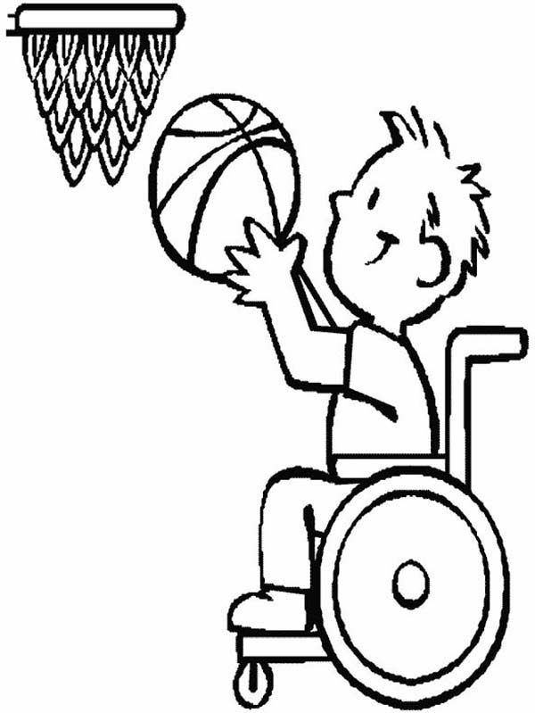 Disability Basketball Athlete Coloring Page : Kids Play