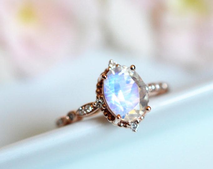 Vintage Floral Ring In Moonstone Rainbow Moonstone Leaf Engagement