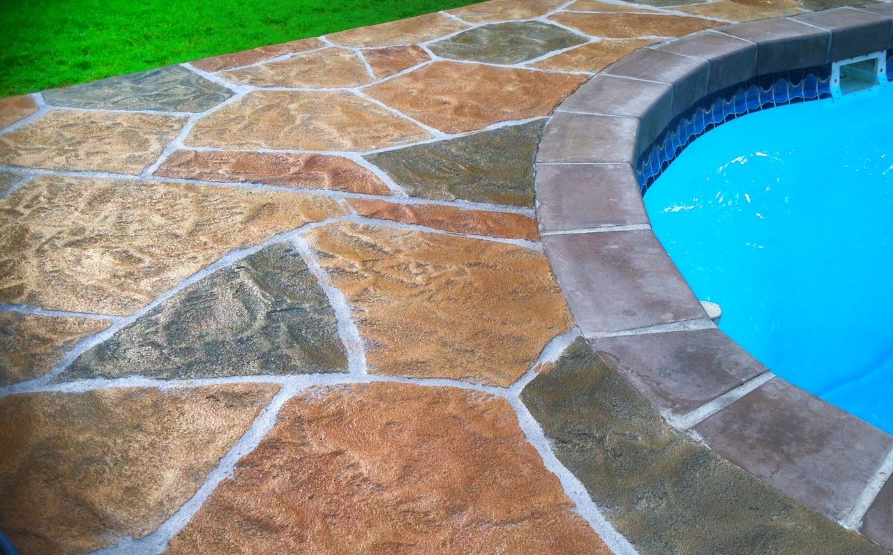 sun stamp pool deck concrete overlay | outdoor overlays