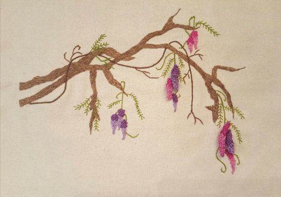 Wisteria Stumpwork & Embroidery Pattern от WindyWillows444 на Etsy