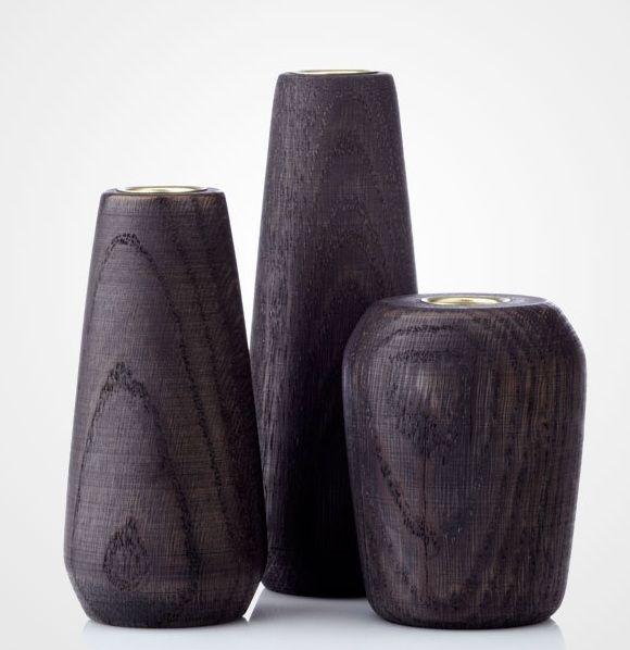 kerzenständer von applicata in geräucherter eiche (smoked oak,