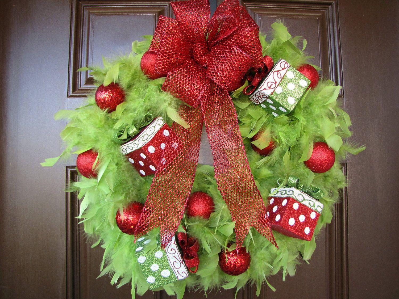 Decorating Wreath With Christmas Balls Christmaswreathlimegreenfeatherwreathbythewrightwreath$