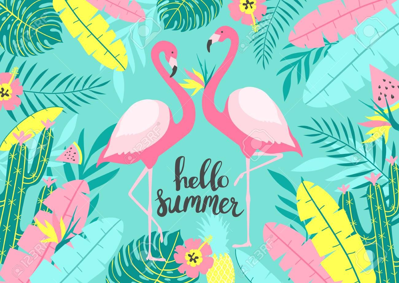 Tropical Background With Of Two Cute Flamingos With Inscription La Creacion