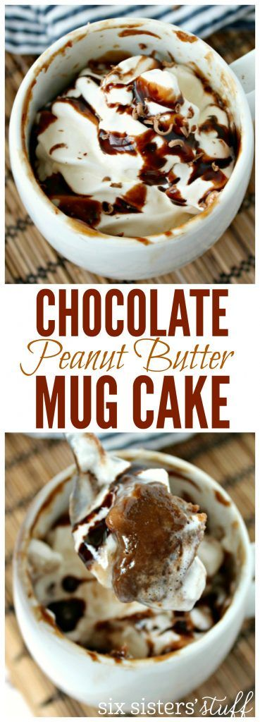 Single Serving Chocolate Peanut Butter Mug Cake recipe from SixSistersStuff.com | This is an easy to make dessert, made only in one portion so you can have a treat and then stick to your healthier eating habits!
