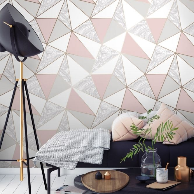 Grey And Pink Living Room Wallpaper