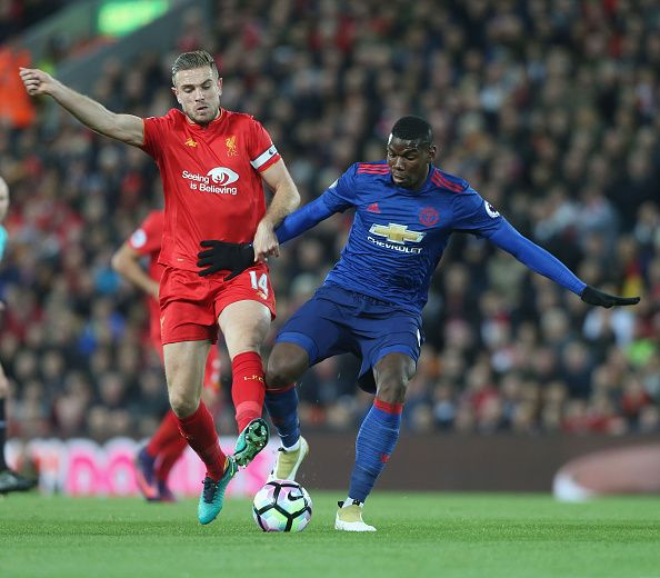 Paul Pogba Of Manchester United In Action With Jordan Henderson Of Liverpool During The Premier Leag Liverpool Vs Manchester United Manchester United Liverpool