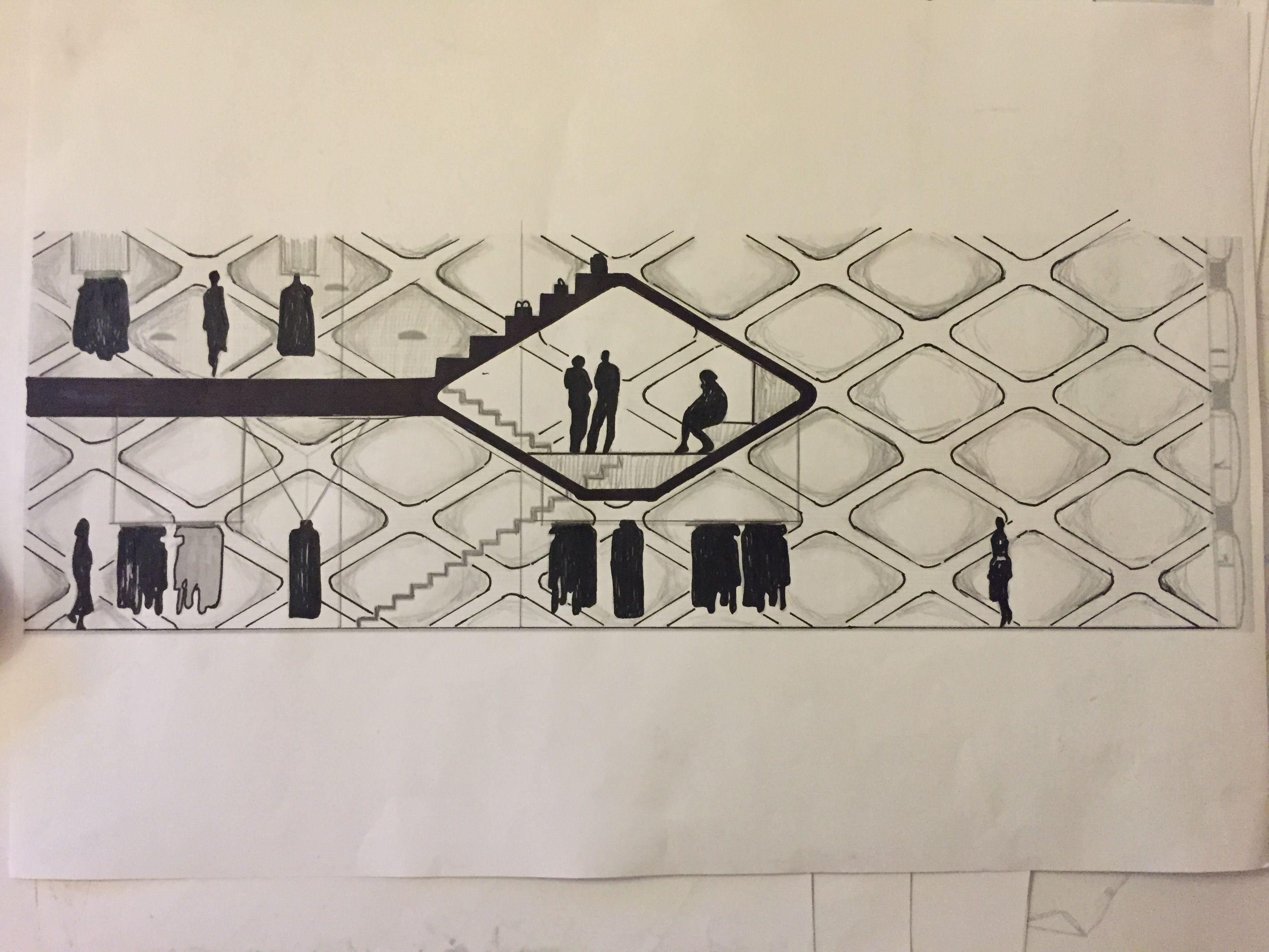One Floor Sketch (section) of Prada Aoyama