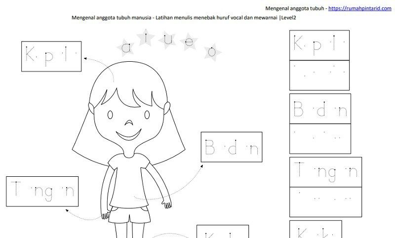 Belajar Membaca Huruf Vokal L2 Kepala Badan Tangan Kaki Worksheet
