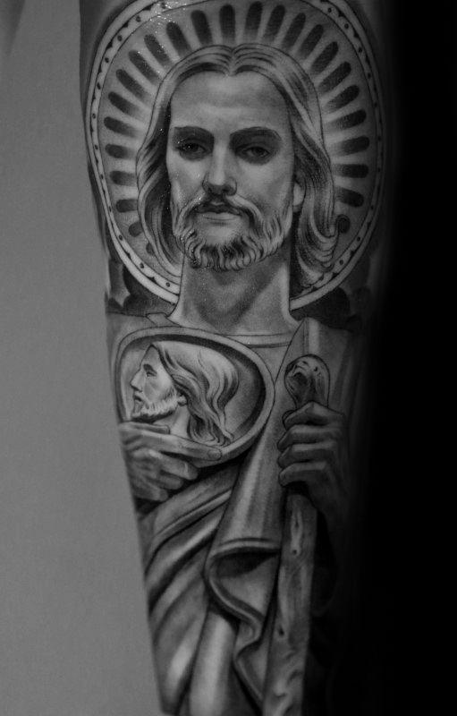 San Judas Tattoo On Arm