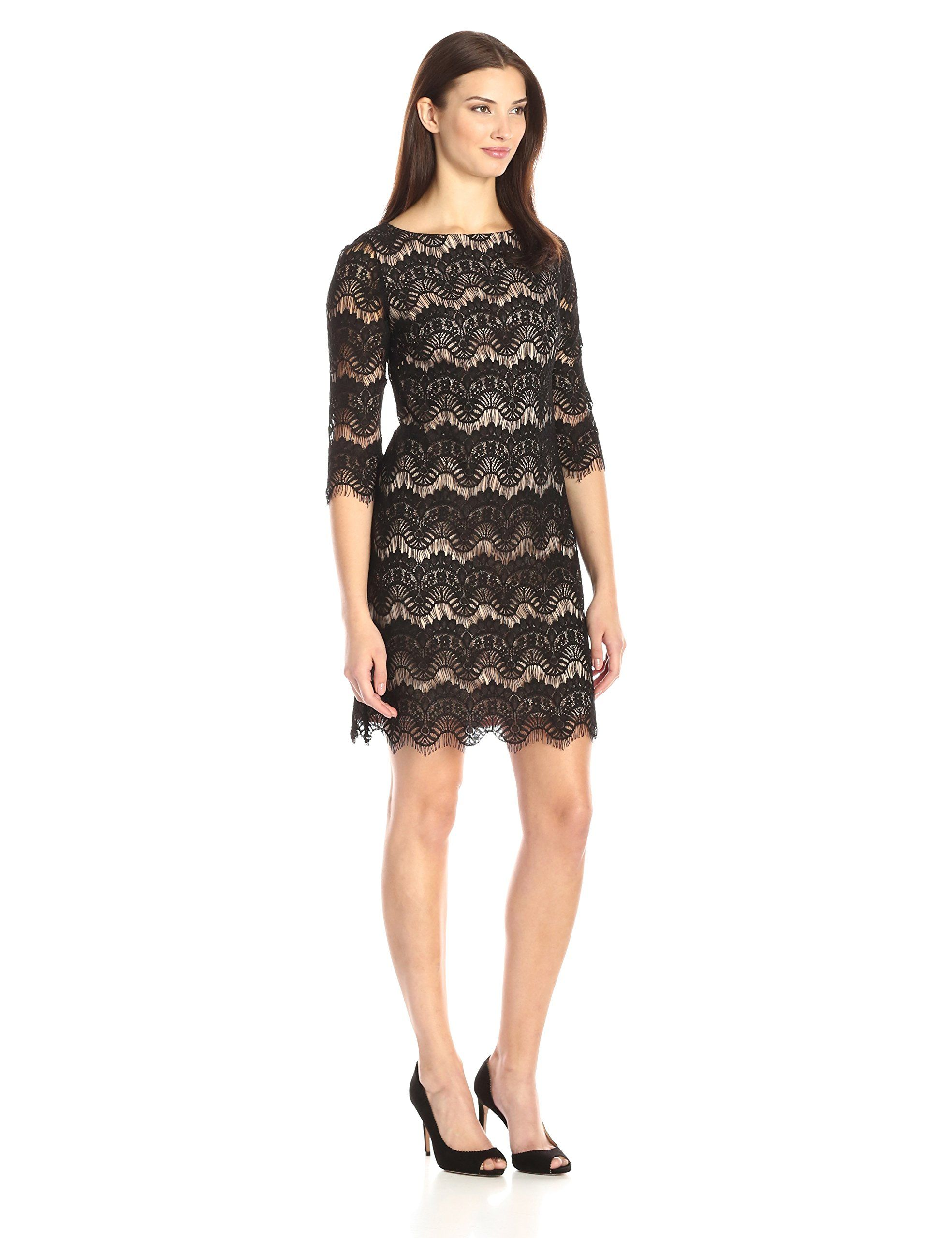 3f95d07dc74f Jessica Howard Womens Lace Shift Dress with Contrast Nude Lining Black/Tan 8  -- Click on the image for additional details-affiliate link. #WomenDresses