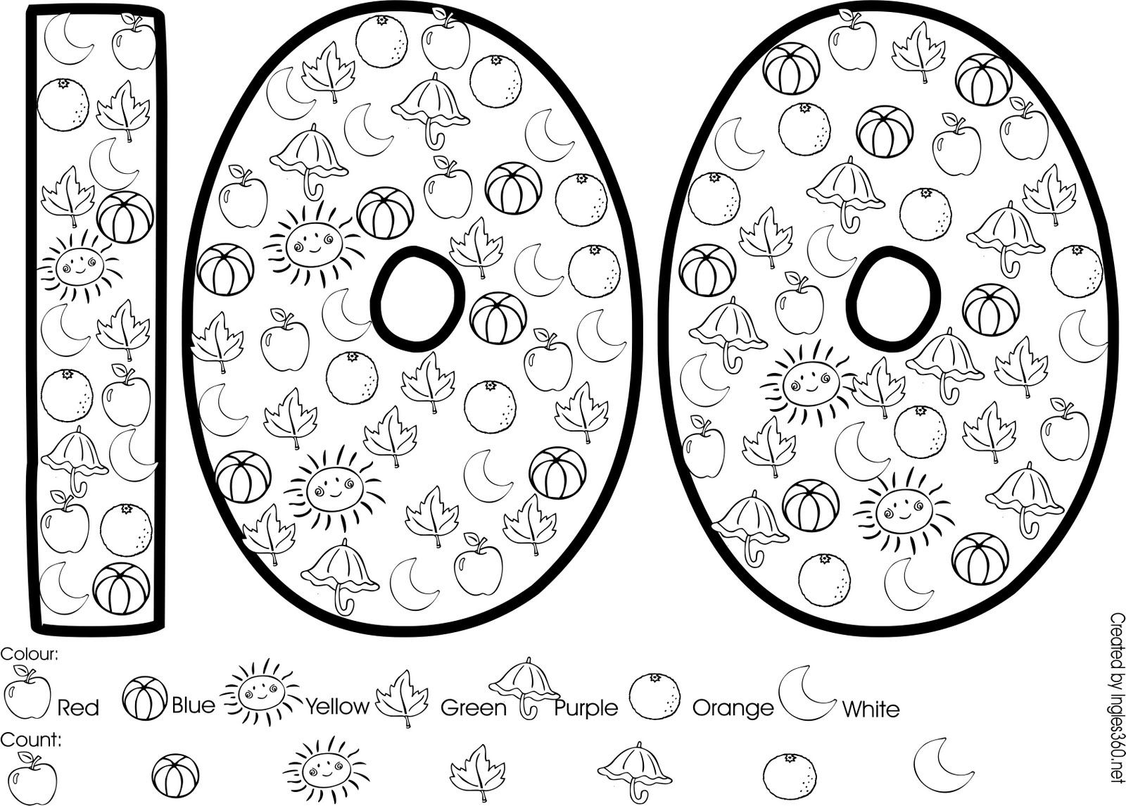 Colouring for 100 days | 100 day | Pinterest