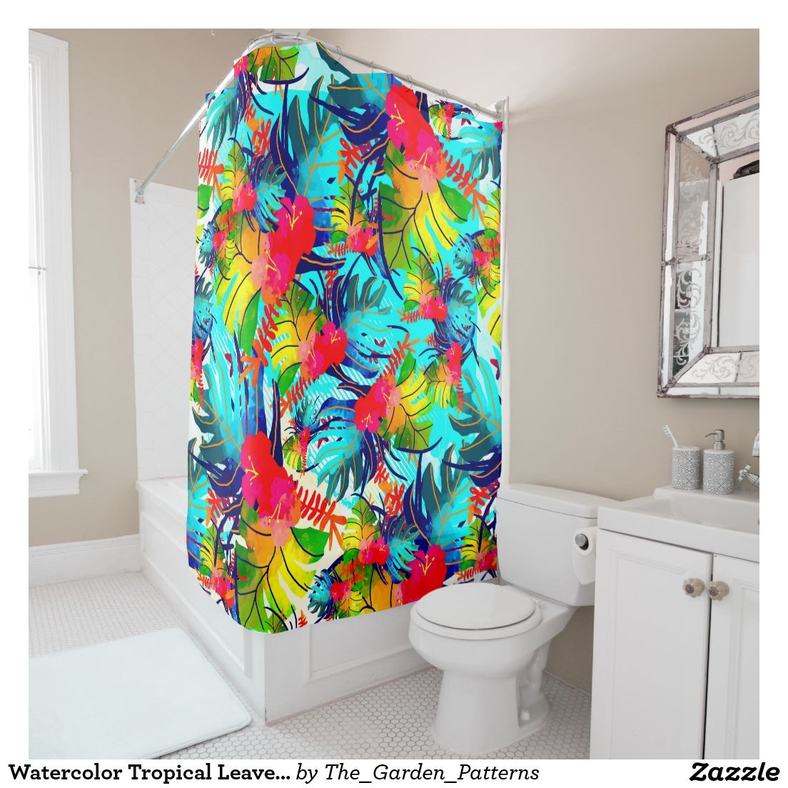 Watercolor tropical leaves pattern shower curtain all aboard for