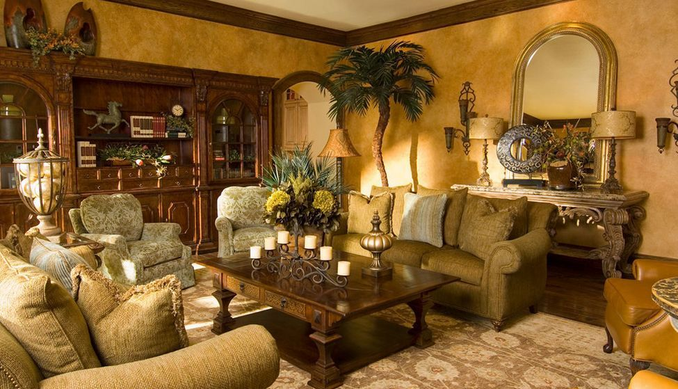 tuscan living room decor. tuscan living room with faux gold walls  Home Decorating Trends
