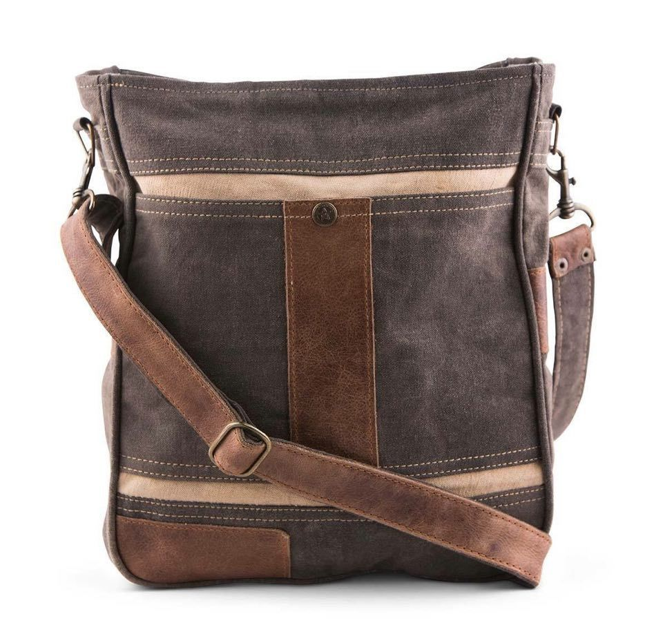 mona b cameron upcycled canvas and leather cross body messenger bag grey purse