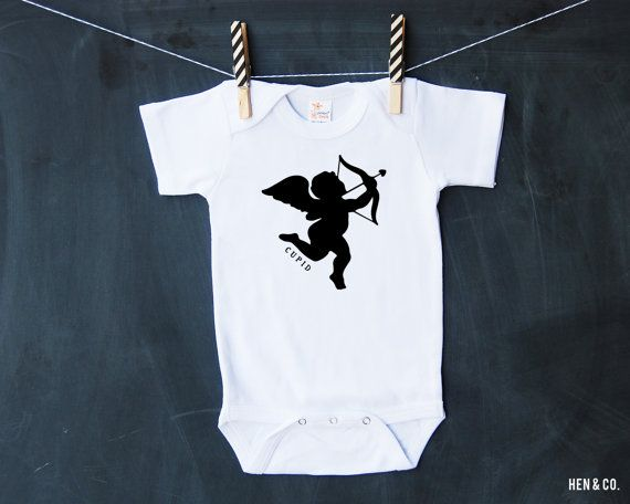 CUPID VALENTINES Baby Bodysuit  Valentines Day Baby by HENANDCO