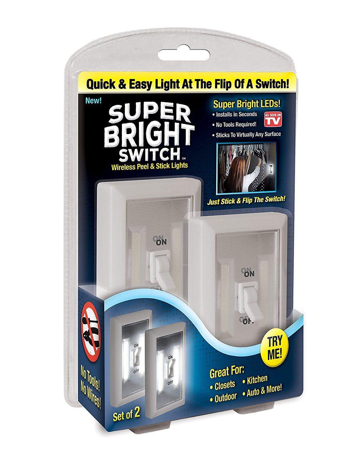 pack cob led wall switch wireless closet cordless night