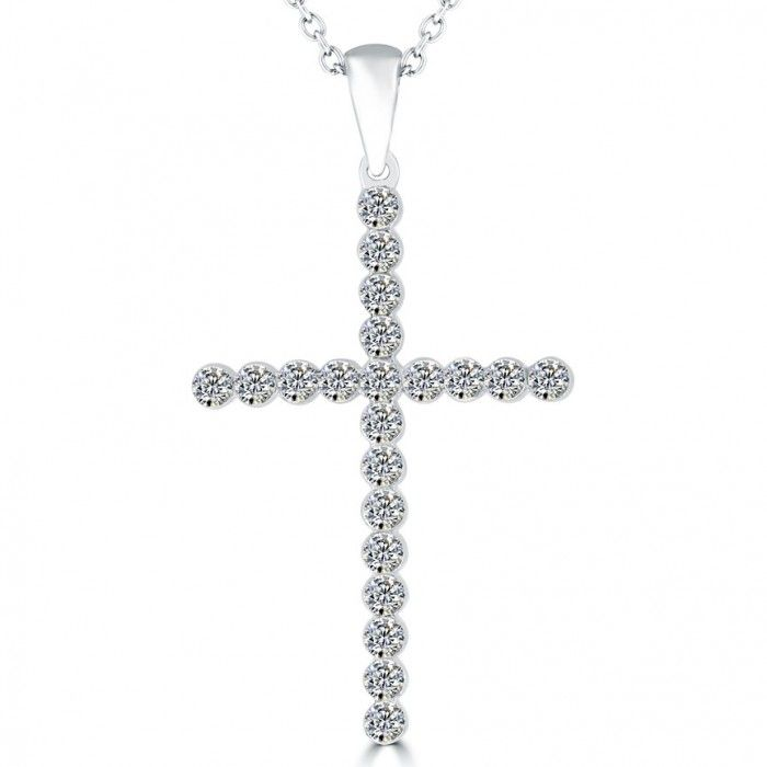 b1683f522ea9 0.95 Carat Natural Diamond Cross Pendant Necklace in 14k White Gold -  CR-028 - Cross Pendants - Religious Pendants - Pendants