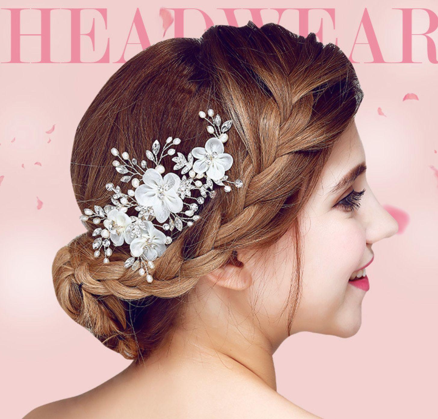 $13.99 - organza flowers faux pearl wedding crystal hair