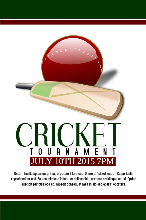 Invitation For Corporate Cricket Tournament: Printable Cricket Tournament Poster/flyer Design. Click To