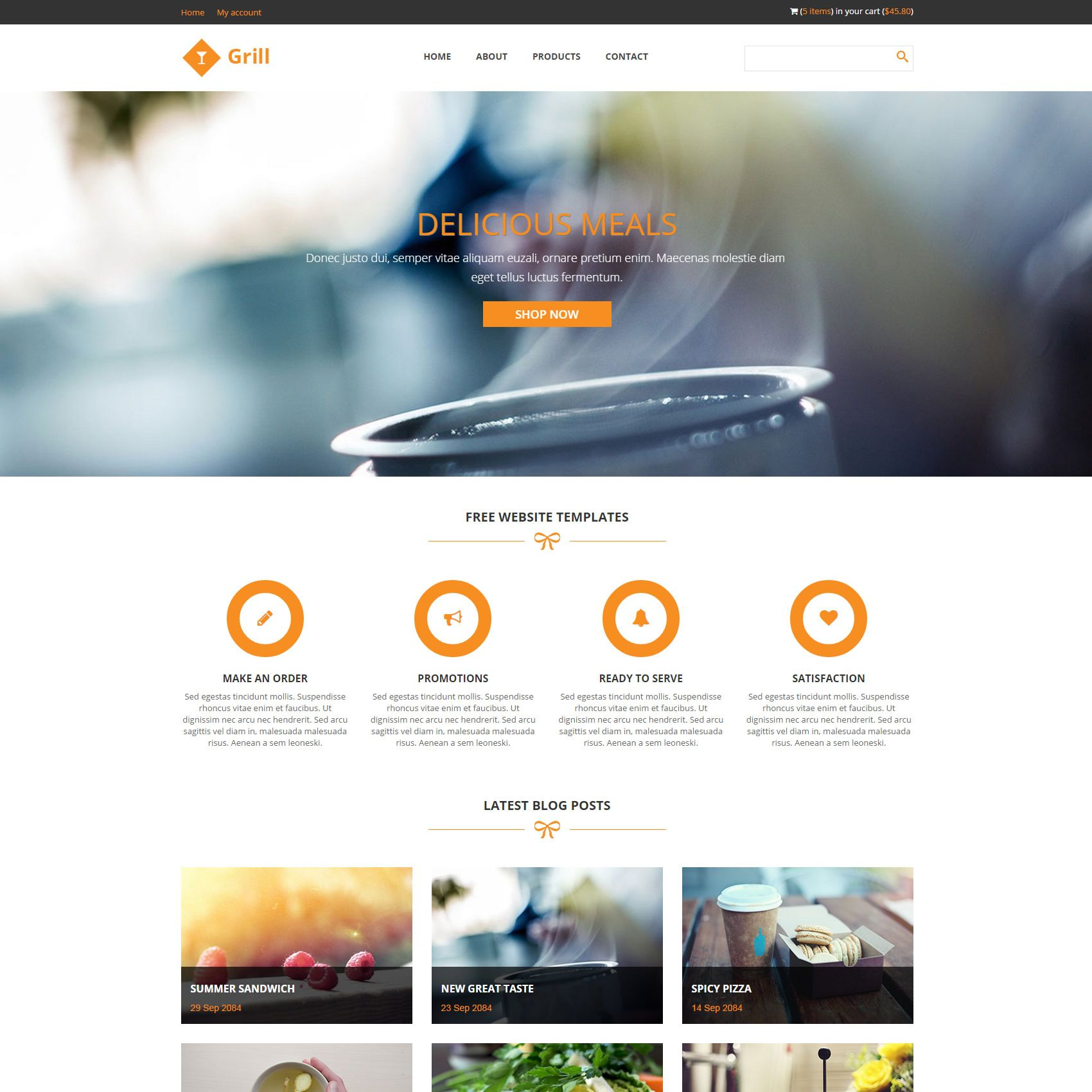 Grill is free restaurant website template, bootstrap