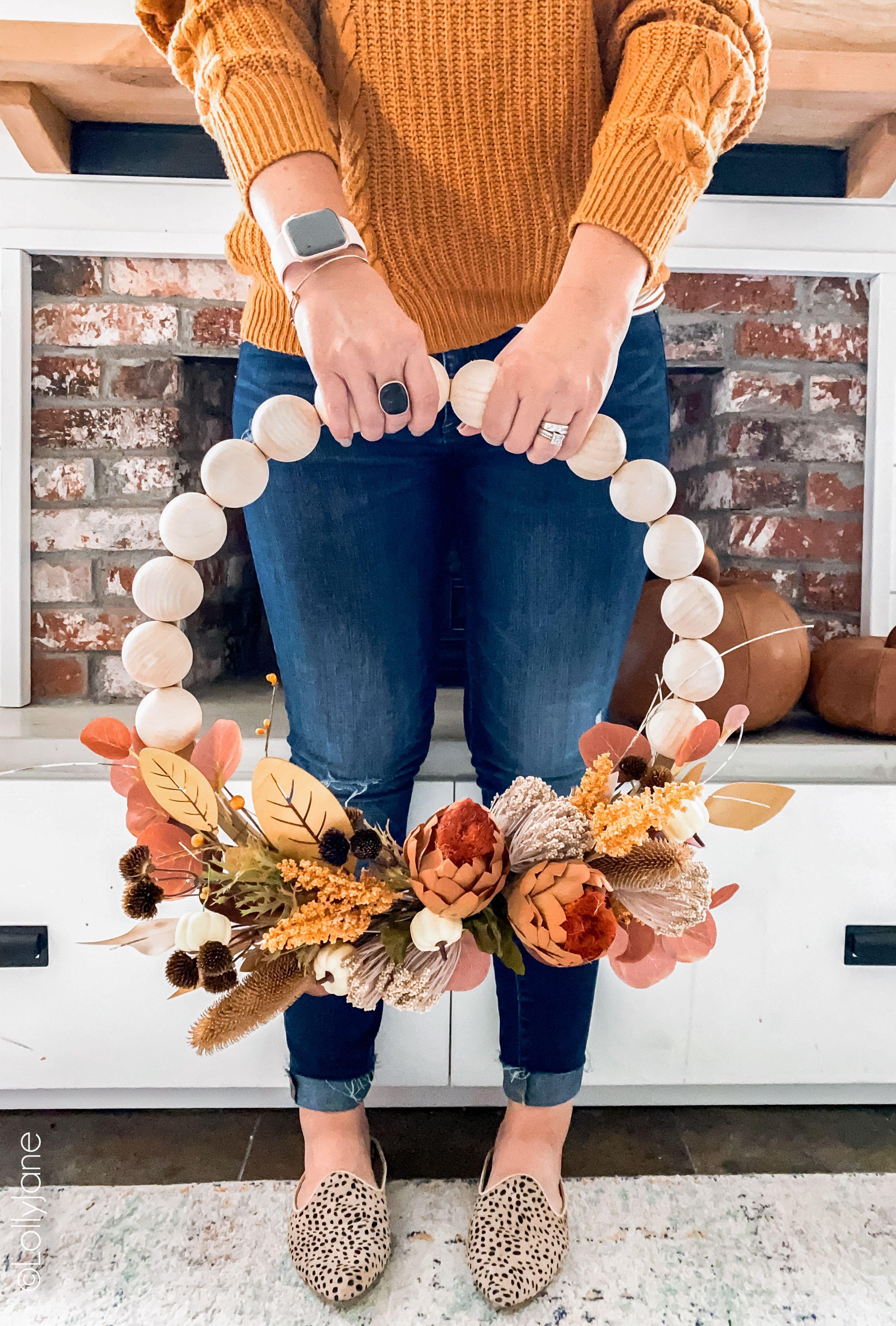 Fall Split Wood Bead Wreath Lolly Jane in 2020 Fall