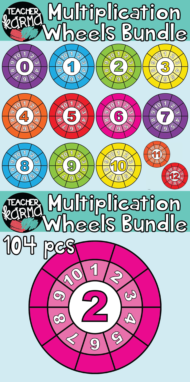Multiplication Wheels Bundle 104 Pieces Math Clipart