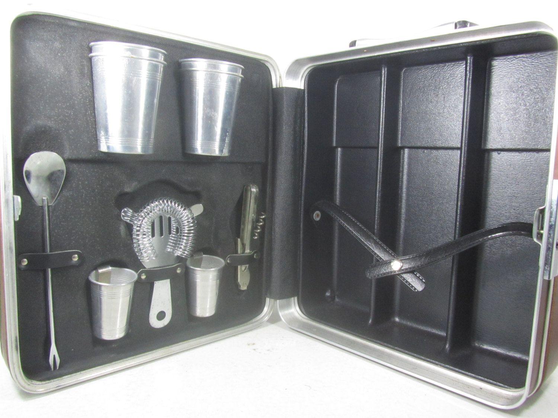 TRAVEL BAR SET, Platt Bar Case, Vintage Bar Set, Vintage Portable Bar,