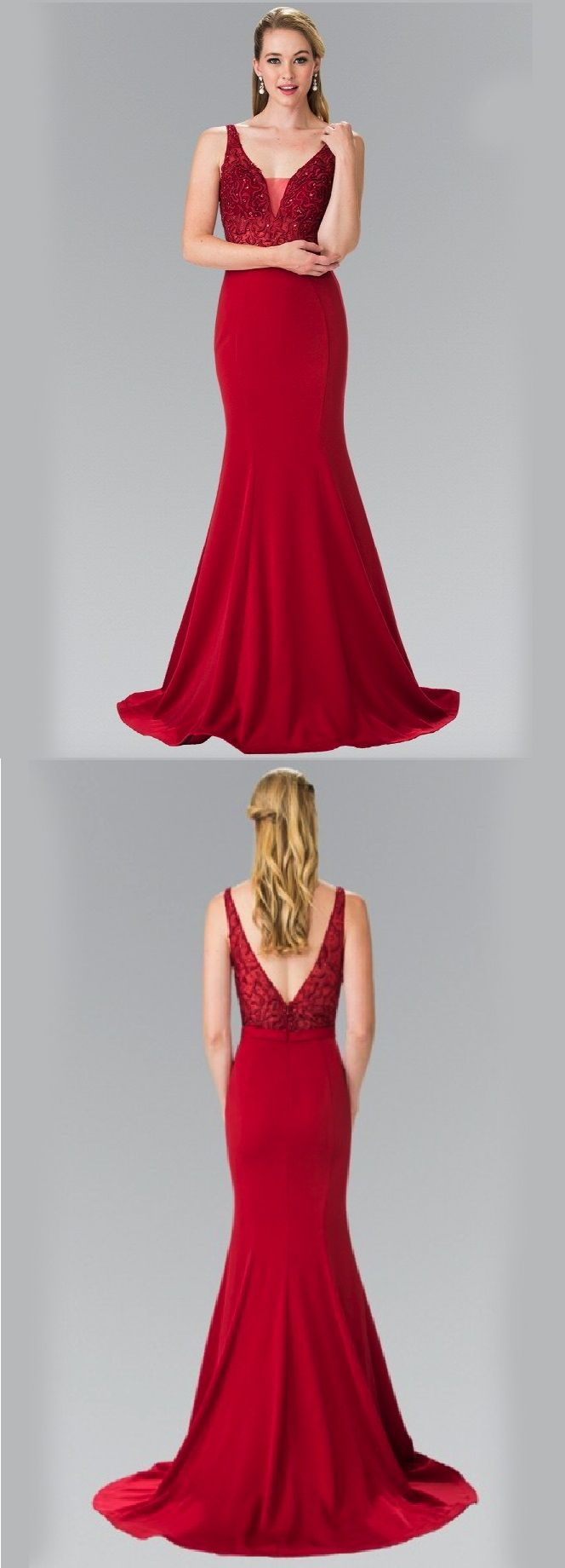 Sparkling beaded long jersey prom dress red prom dresses