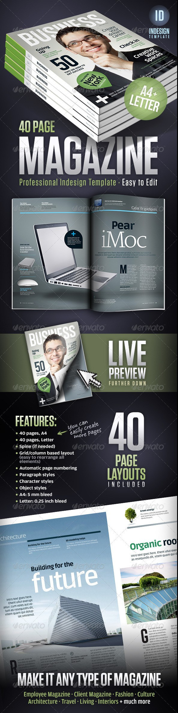 Business Magazine Template A4 + Letter - 40 pages | Templates ...