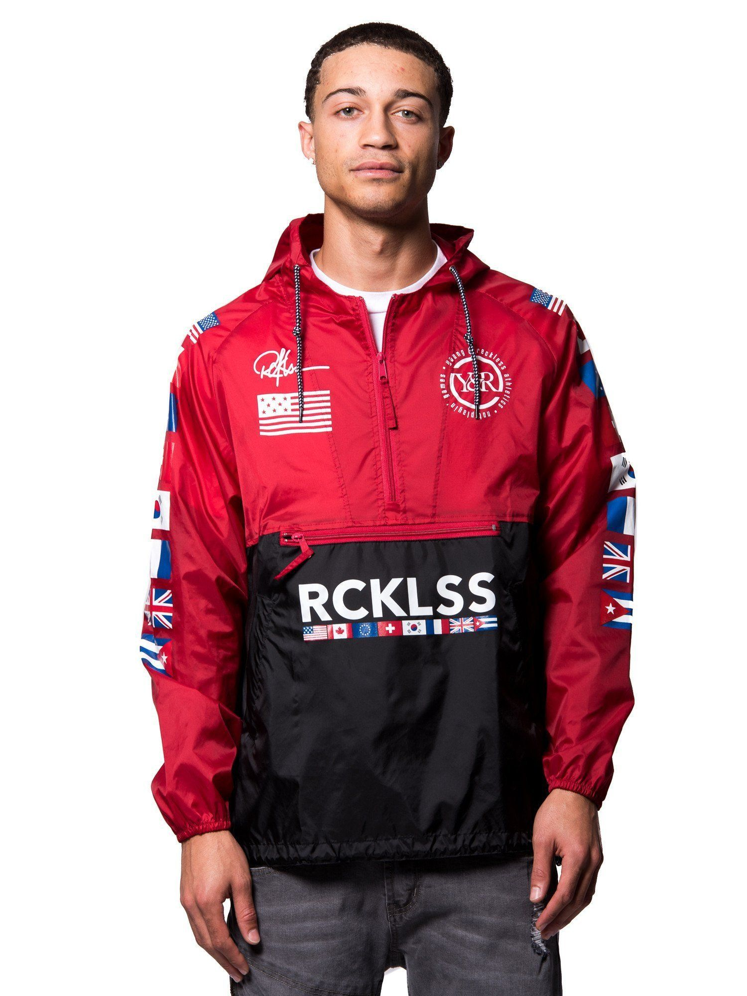 Young and Reckless Mens - Outerwear - Lightweight Jacket Regime  Windbreaker- Black Red 07c37bc9b