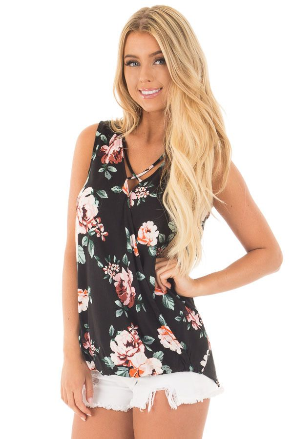 Black Floral Crossover Top with Criss Cross Detail