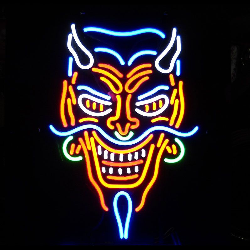 Large devil neon sign tattoo halloween goth piercings for Neon tattoo signs