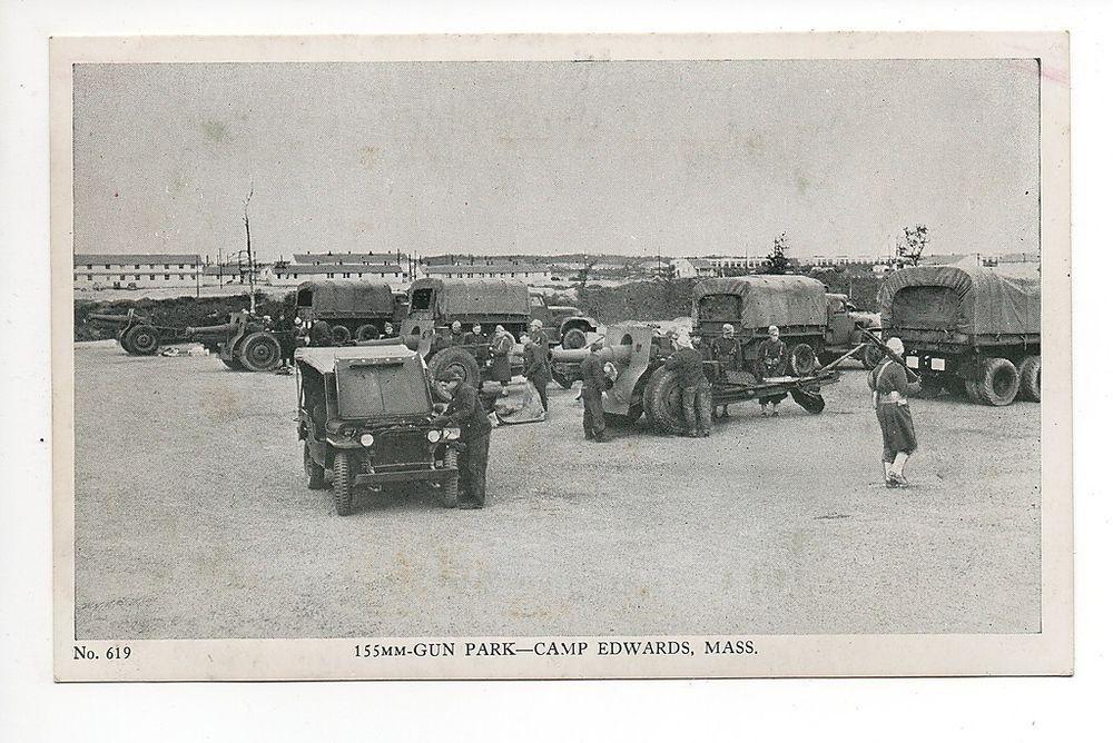 Vintage Photo Postcard (161) - 155mm GUN PARK – CAMP EDWARDS - MASSACHUSETTS