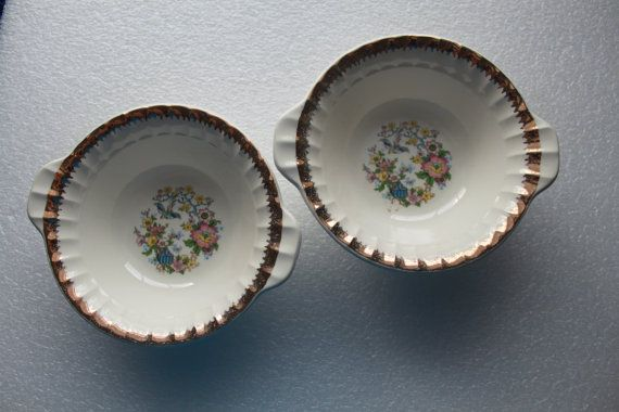 A8 Two 2  Vintage Cronin China Co Lugged Cereal by CRAZYMARYSFINDS