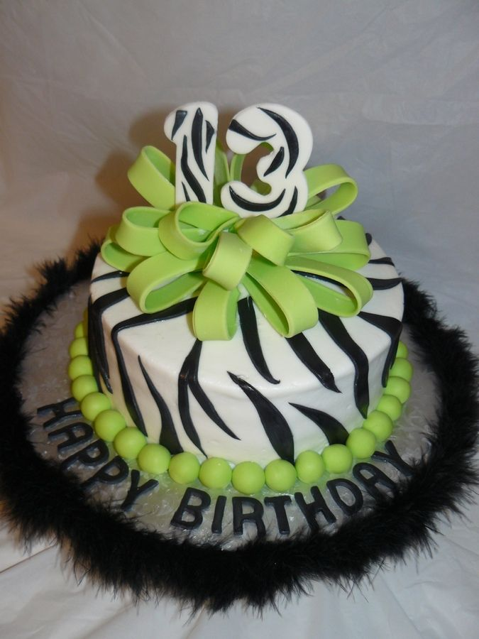 neon cakes for girls stripe with neon green fondant bow and