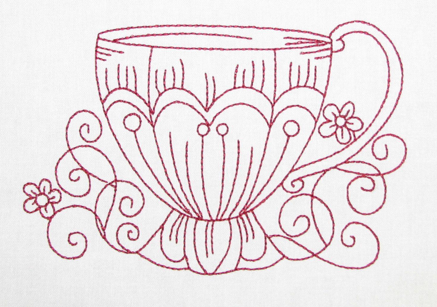 Redwork Teacups Machine Embroidery Patterns - 4x4 Hoop - 6 Designs ...