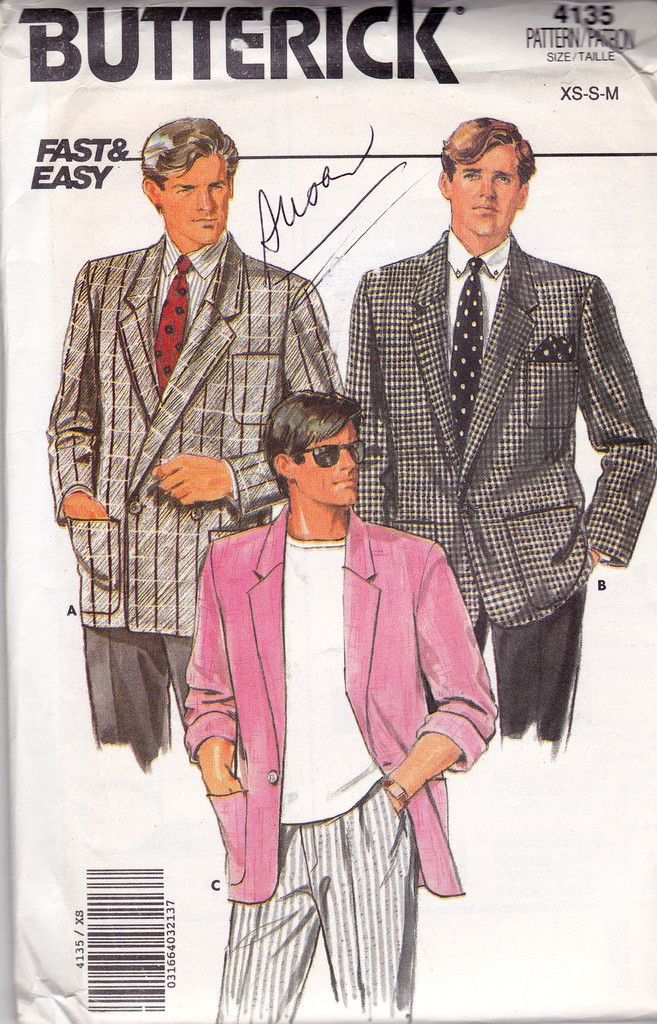 Butterick 4135 80s Mens Jacket Blazer Vintage Sewing Pattern Size XS ...