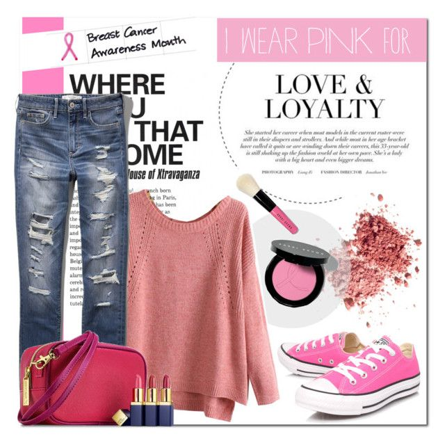 """""""I wear pink for every WOMAN"""" by that-chic-girl ❤ liked on Polyvore featuring Converse, Bobbi Brown Cosmetics, Yves Saint Laurent, Abercrombie & Fitch and IWearPinkFor"""