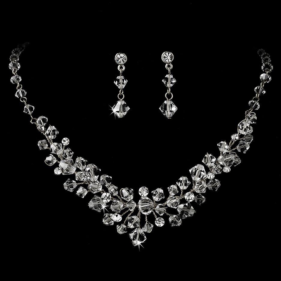 Swarovski crystal bridal necklace set wedding ideas pinterest