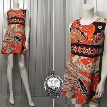 Vintage 60s 70s Psychedelic Print Mini Shift Dress Empire