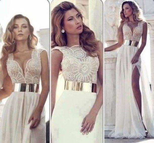 White maxi evening dress
