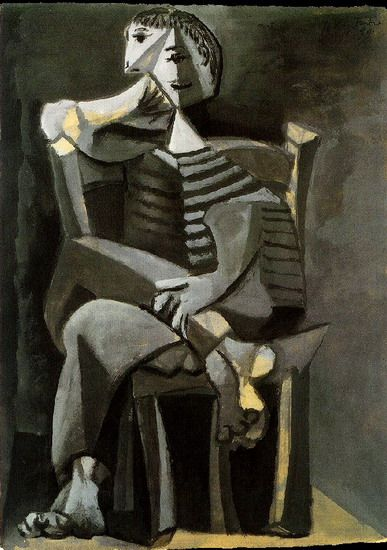 "Pablo Picasso - ""Man sitting knitting striped"". 1939"