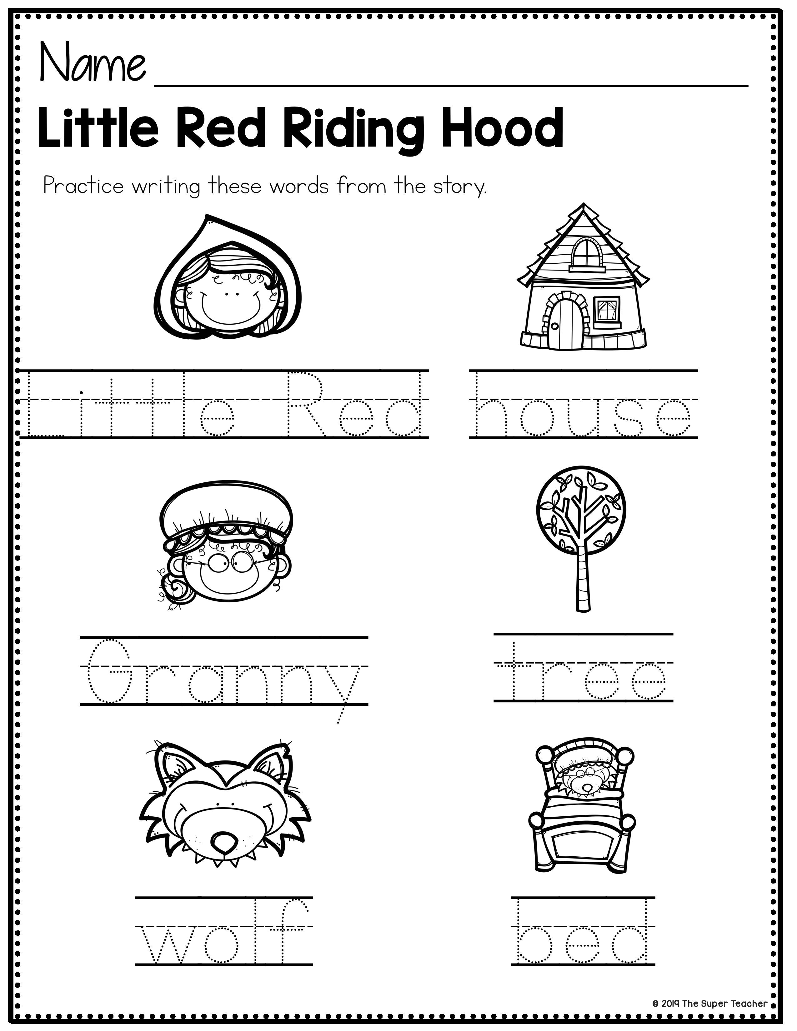 Little Red Riding Hood Story Elements And Story Retelling Worksheets Pack Red Riding Hood Story Teaching Story Elements Little Red Riding Hood