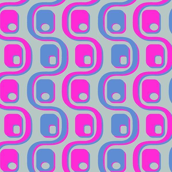 Motif vintage inspiration SIXTIES, coloris à personnaliser sur www.deco-tissus.com