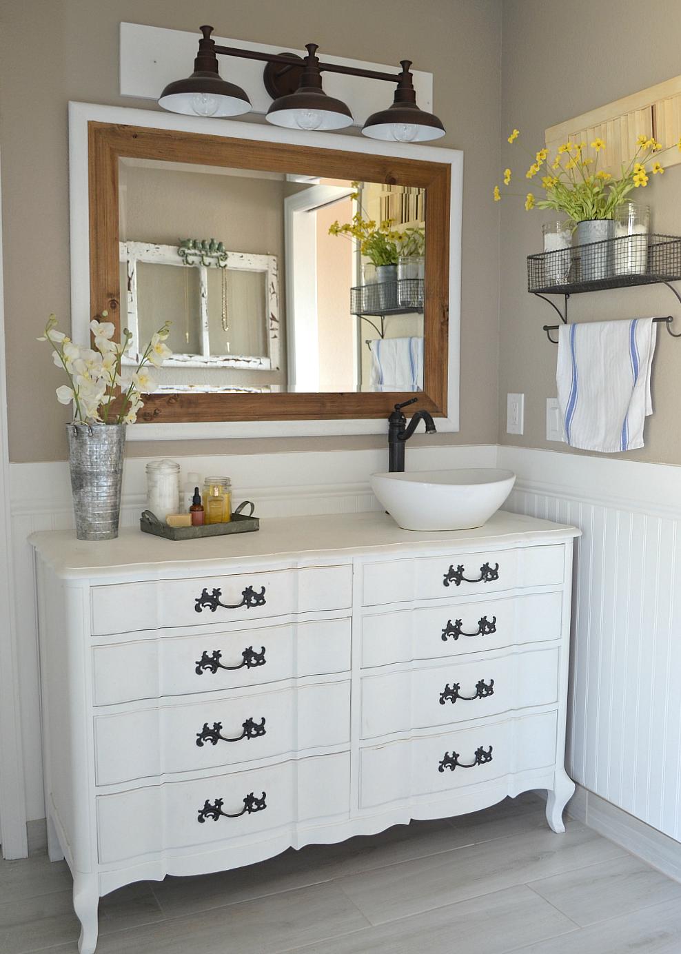 Honest Review of My Chalk Painted Bathroom Vanities | Paint bathroom ...